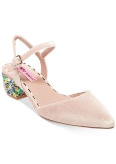 Betsey Johnson Lena Velvet Block-Heel Pumps Women's Shoes