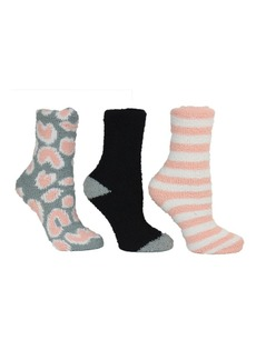 Betsey Johnson Leopard Cozy Sock Giftbox, 3-Pack