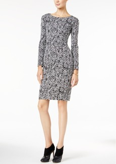Betsey Johnson Long-Sleeve Floral-Print Knit Sheath Dress