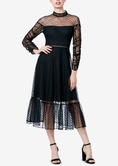 Betsey Johnson Mesh Ruched-Sleeve Dress