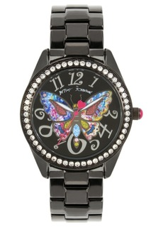 Betsey Johnson Multi-Colored Butterfly Motif Dial Black Watch 44mm