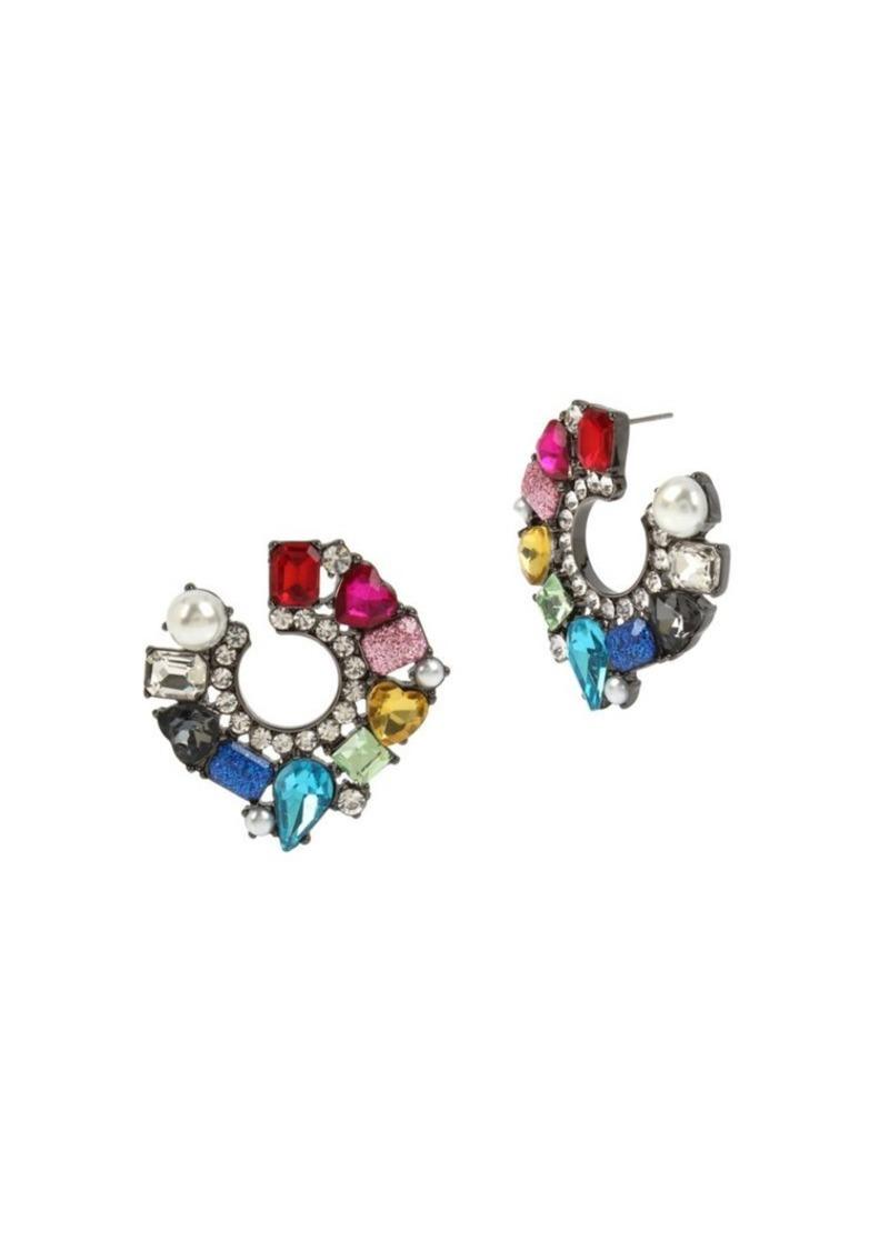 Betsey Johnson Multicolored Crystal & Faux Pearl Stud Earrings