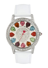 Betsey Johnson Multicolored Crystal Dial Watch, 40mm