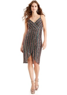 Betsey Johnson Multicolored-Sequin Wrap Dress