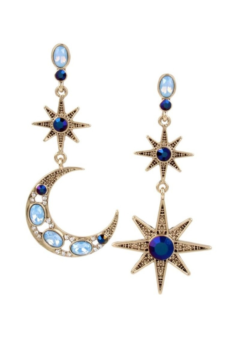 19059f7ffe86a Mystic Baroque Queens Goldtone Moon and Star Mismatch Earrings