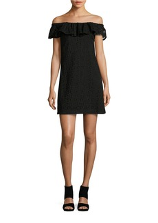 BETSEY JOHNSON Off-The-Shoulder Lace Sheath Dress