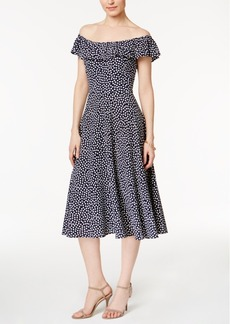Betsey Johnson Off-The-Shoulder Printed Dress