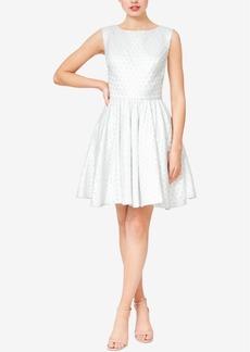 Betsey Johnson Open-Back Dot Jacquard Fit & Flare Dress