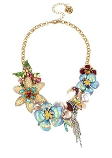 Betsey Johnson Paradise Lost Crystal Floral Statement Necklace