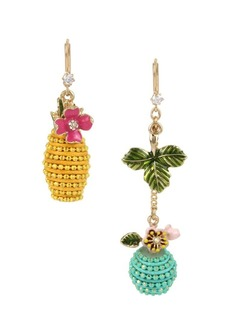 Betsey Johnson Paradise Lost Crystal Fruit Mismatched Drop Earrings