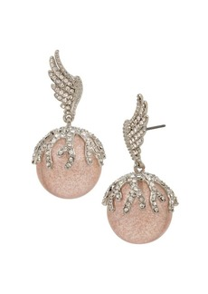Betsey Johnson Pavé Wing Bead Drop Earrings