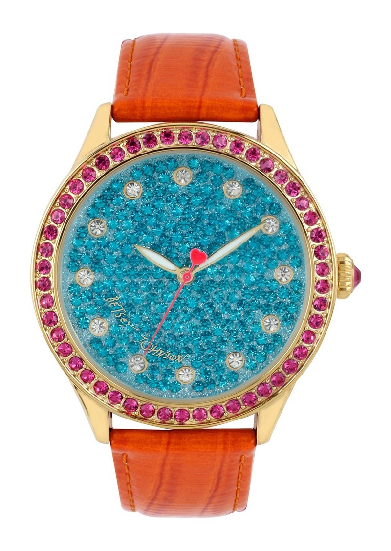 Betsey Johnson Pavé Dial Round Leather Strap Watch, 42mm
