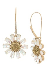 Betsey Johnson Pave Daisy Flower Long Drop Earrings