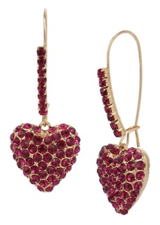 Betsey Johnson Pave Heart Dangle Earrings