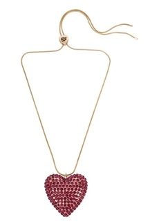 Betsey Johnson Pave Heart Pendant Slider Necklace