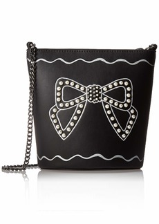 Betsey Johnson Pearl Bow Bucket Bag black