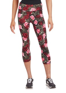 Betsey Johnson Performance Floral Banded Waist Leggings