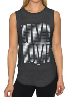 Betsey Johnson Performance Give Love Stripe High Low Muscle Tank