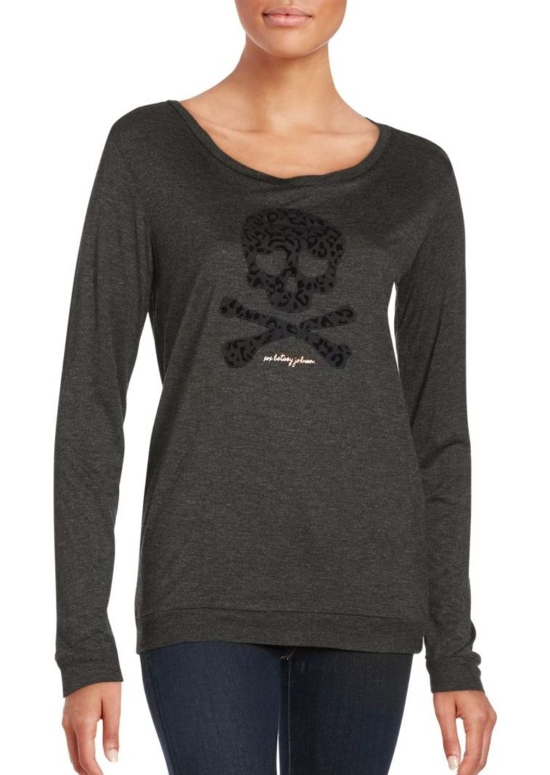 Betsey Johnson Performance Leopard Solid Long Sleeve Pullover