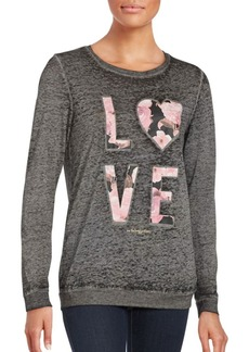 Betsey Johnson Long Sleeve Floral Love Pullover