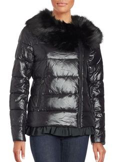 Betsey Johnson Ruffled Faux Fur Moto Puffer Jacket