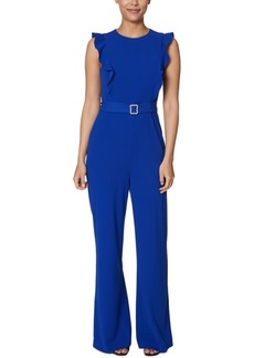 Betsey Johnson Petite Belted Ruffle Jumpsuit