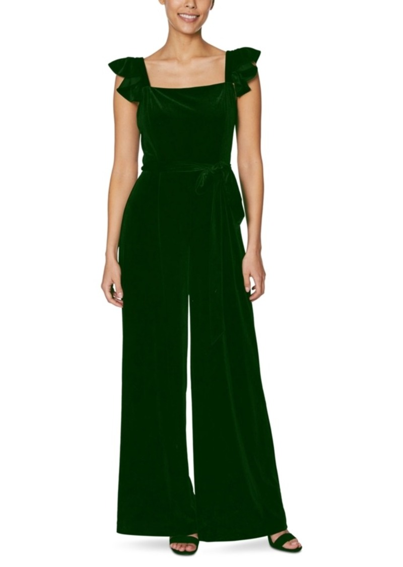 Betsey Johnson Petite Ruffled Velvet Jumpsuit