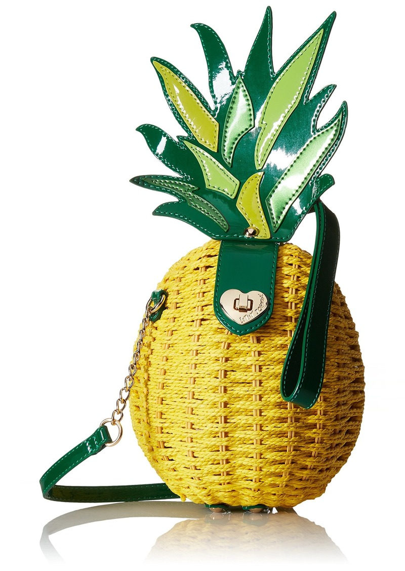 Betsey Johnson Pineapple Wicker Shoulder Bag yellow