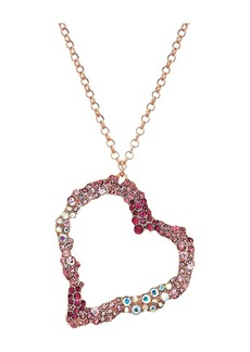 Pink and Rose Gold Long Heart Pendant Necklace