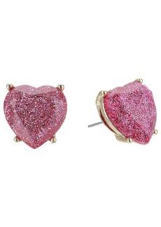 Betsey Johnson Pink Sparkle Heart Stud Earrings