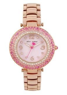 Betsey Johnson Pink Stone Bezel Rose Gold Watch