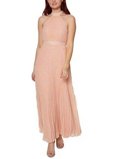 Betsey Johnson Pleated Animal-Print Maxi Dress