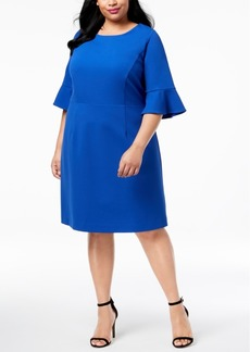 Betsey Johnson Plus Size Bell-Sleeve Sheath Dress