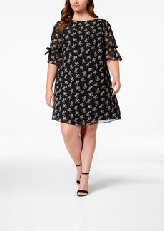 Betsey Johnson Plus Size Bow-Print Ribbon Dress