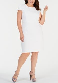 Betsey Johnson Plus Size Cap-Sleeve Jacquard Sheath Dress