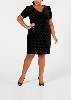Betsey Johnson Plus Size Dot-Print Sheath Dress