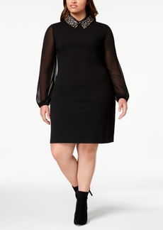 Betsey Johnson Plus Size Embellished Collar Dress
