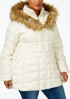 Betsey Johnson Plus Size Faux-Fur-Trim Corset Puffer Coat
