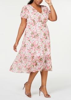 Betsey Johnson Plus Size Floral-Print A-Line Midi Dress