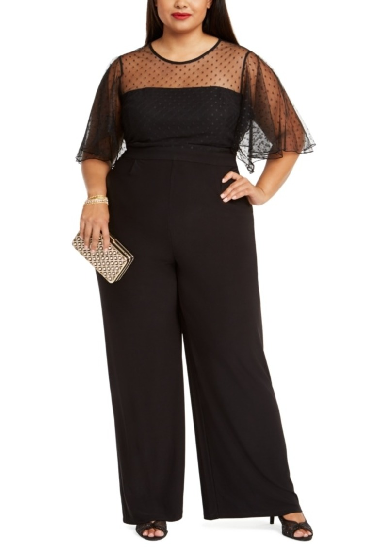 Betsey Johnson Plus Size Illusion-Trim Wide-Leg Jumpsuit
