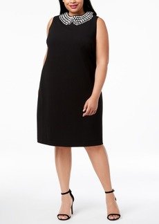 Betsey Johnson Plus Size Imitation-Pearl Sheath Dress