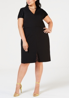 Betsey Johnson Plus Size Lace-Trim Sheath Dress