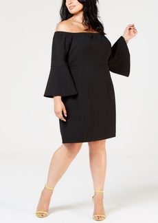 Betsey Johnson Plus Size Off the Shoulder Bell-Sleeve Sheath Dress