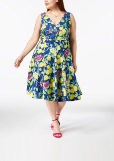 Betsey Johnson Plus Size Printed Fit & Flare Dress