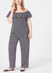 Betsey Johnson Plus Size Printed Off-The-Shoulder Jumpsuit