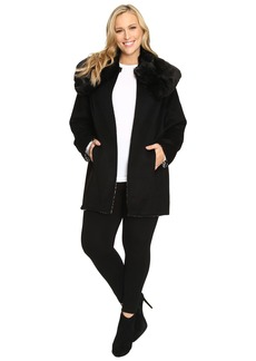 Betsey Johnson Plus Size Reversible Wool Coat w/ Fur Collar