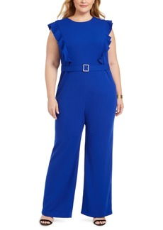 Betsey Johnson Plus Size Ruffle-Front Belted Jumpsuit