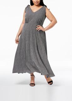 Betsey Johnson Plus Size Striped V-Neck Maxi Dress