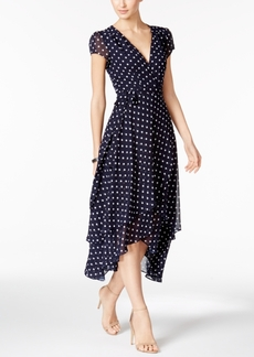 Betsey Johnson Polka Dot Faux-Wrap Midi Dress