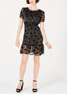 Betsey Johnson Polka-Dot Metallic Fit & Flare Dress